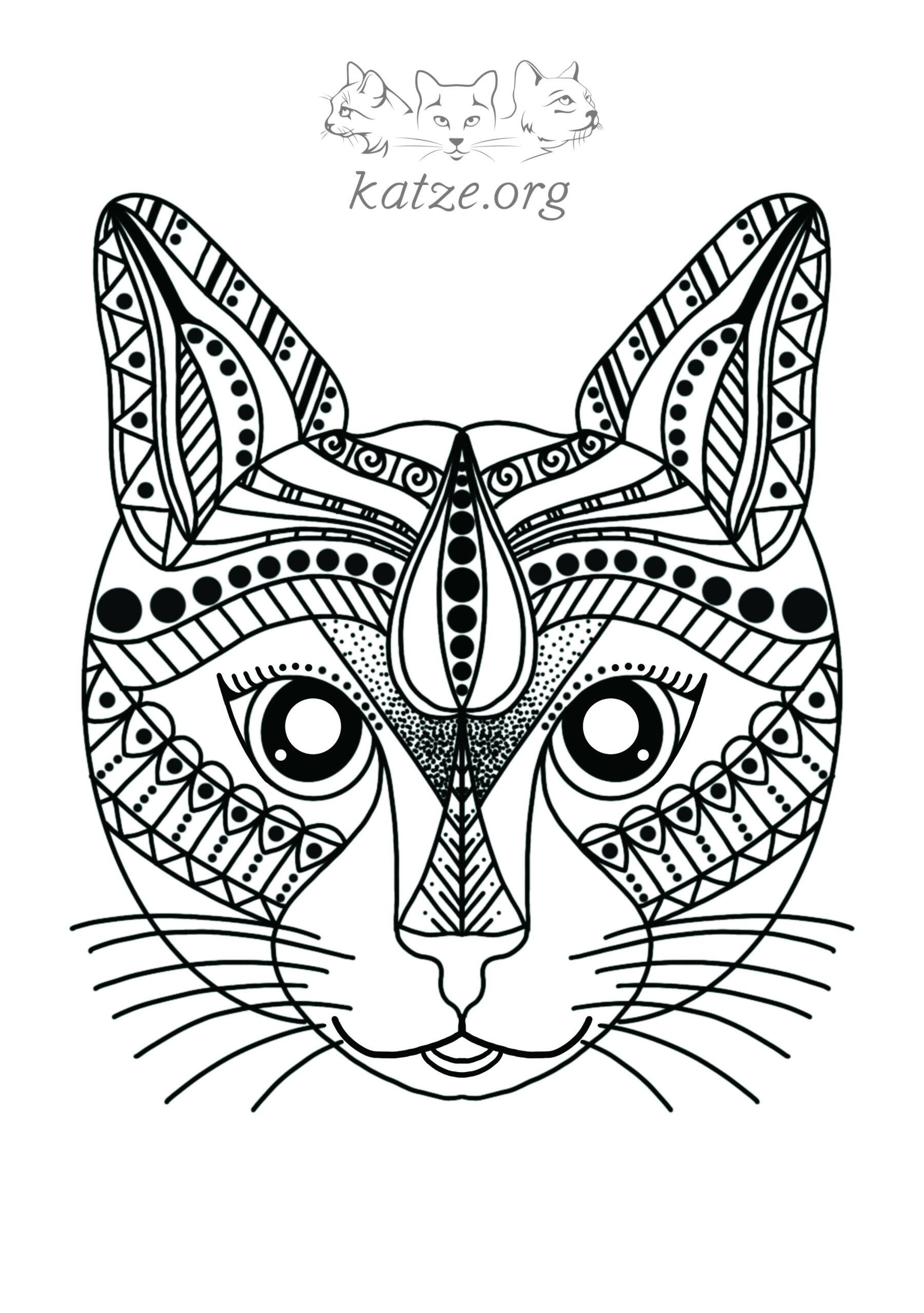 Katzen Mandalas Download - kostenlose Katzenbilder zum Ausmalen